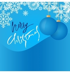 Snowflake background and blue christmas ball vector