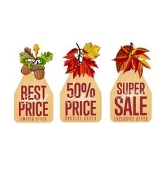 Autumn seasonal sale badges set vector