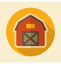 Barn house retro flat icon with long shadow vector