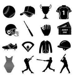 Baseball icons set vector image vector image