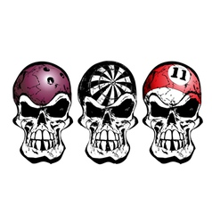 Bowling darts and billiard skulls vector image