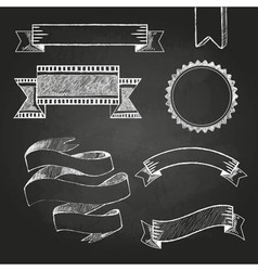 Chalkboard labels ribbons and stickers vector