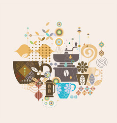 coffee concept with mix graphic and variety vector image vector image