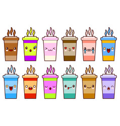 Coffee cups icon set characters kawaii face vector