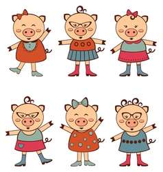 Fashion piggies set vector image vector image