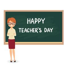 female teacher against a blackboard background vector image vector image