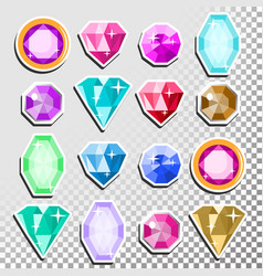 gems isolated precious stones shimmer and vector image