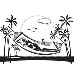 Girl lying on a hammock on the beach vector