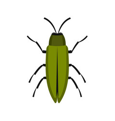 Green beetle icon flat style vector