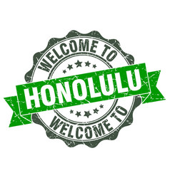 Honolulu round ribbon seal vector