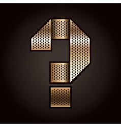 Letter metal gold ribbon - question mark vector