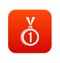 medal for first place icon digital red vector image vector image