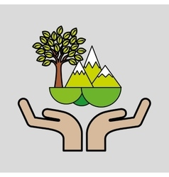 mountains tree ecology symbol graphic vector image vector image