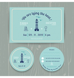 Nautical light house wedding invitation and rsvp vector