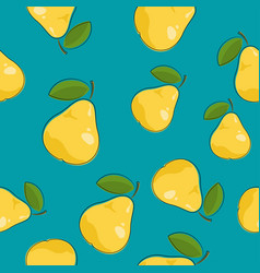 Seamless pattern pear on azure background vector