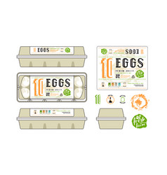 set of template labels for egg packaging vector image