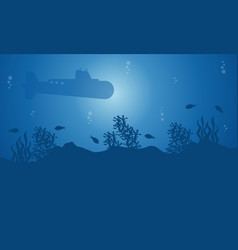 Silhouette of submarine and fish on blue sea vector