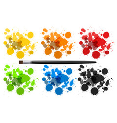 six colors of watercolor splashes vector image