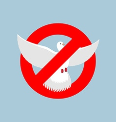 Stop pigeon It is forbidden to fly pigeon shooting vector image vector image