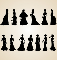 Victorian women silhouettes vector