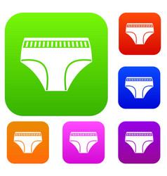 Woman cotton panties set color collection vector