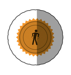 yellow emblem person do exercise gym vector image vector image