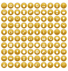 100 grocery shopping icons set gold vector