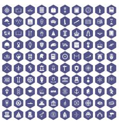 100 history icons hexagon purple vector