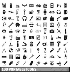 100 portable icons set simple style vector