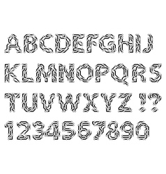Alphabet of a circuit style letters and digits vector