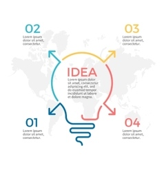Light bulb infographic idea chart with 4 steps vector