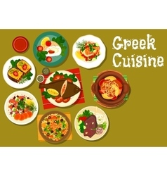 Greek cuisine dishes with fish and lamb icon vector