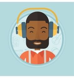 Man listening to music in headphones vector