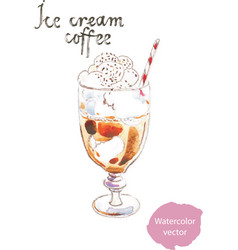 watercolor coffee ice cream vector image