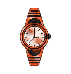 Color blurred stripe analog male wristwatch vector