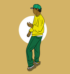 A guy in a yellow t-shirt and blue pants dancing vector