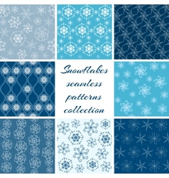 Collection of snowflake patterns vector image