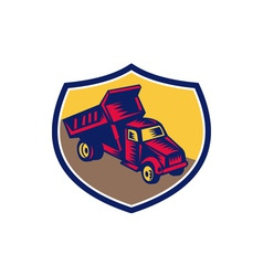 Dump truck shield woodcut vector
