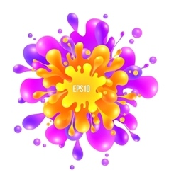 Pink and orange paint splash on white vector