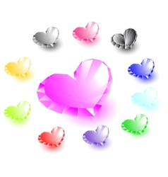 Collection of heart-shaped diamonds vector