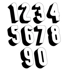 3d black and white numbers vector