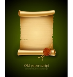 Old paper script with stamp vector