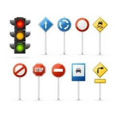 Traffic light and road sign set vector