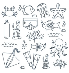Diving icons set with fish and equipment vector