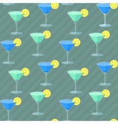 Seamless flat pattern with cocktail glasses vector