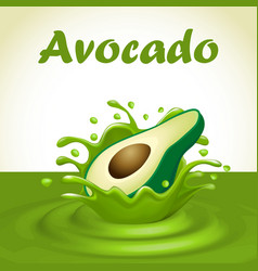 A splash of juice from a falling avocado and drops vector
