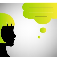 Abstract speaker silhouette with speech bubble vector image