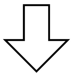 Arrow down thin line icon vector
