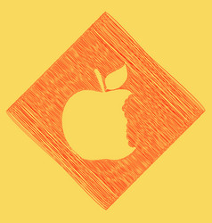 Bite apple sign red scribble icon vector