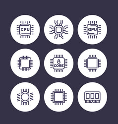 chipset cpu line icons set microchip gpu 8-core vector image vector image